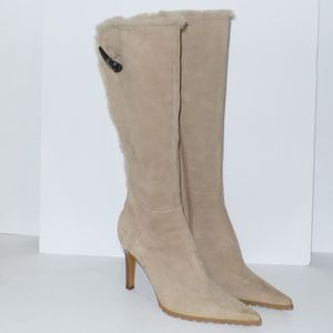 Nine West Waterfall Suede Lug Heeled Boots Fur 7.5